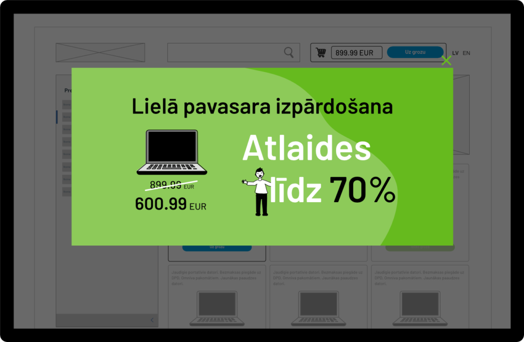 Ilustrēts dinamiskais tīmekļa vietnes saturs (baneris), kuru nevar aizvērt, izmantojot tikai klaviatūru, vai neuzzina par kādu būtisku saturu tajā