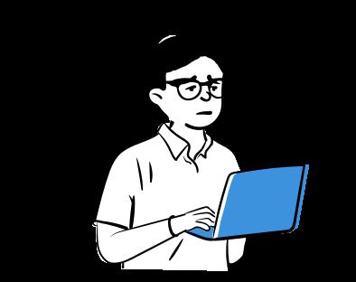 Cilvēks ar portatīvo datoru rokās