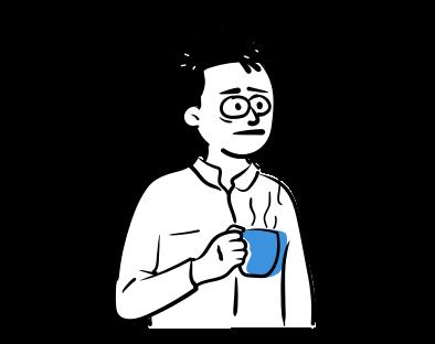 Cilvēks ar kafijas krūzi