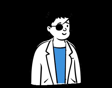 Cilvēks ar apsēju pēc acu operācijas