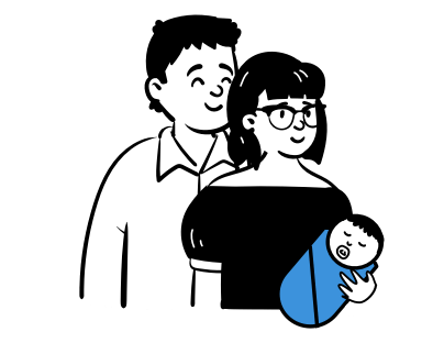 Ģimene ar zīdaini