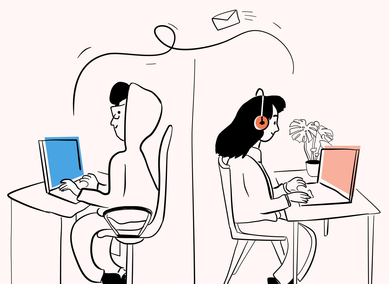 Sieviete un vīrietis, katrs savās mājās, sēž pie datoriem un savā starpā par kaut ko sarakstās