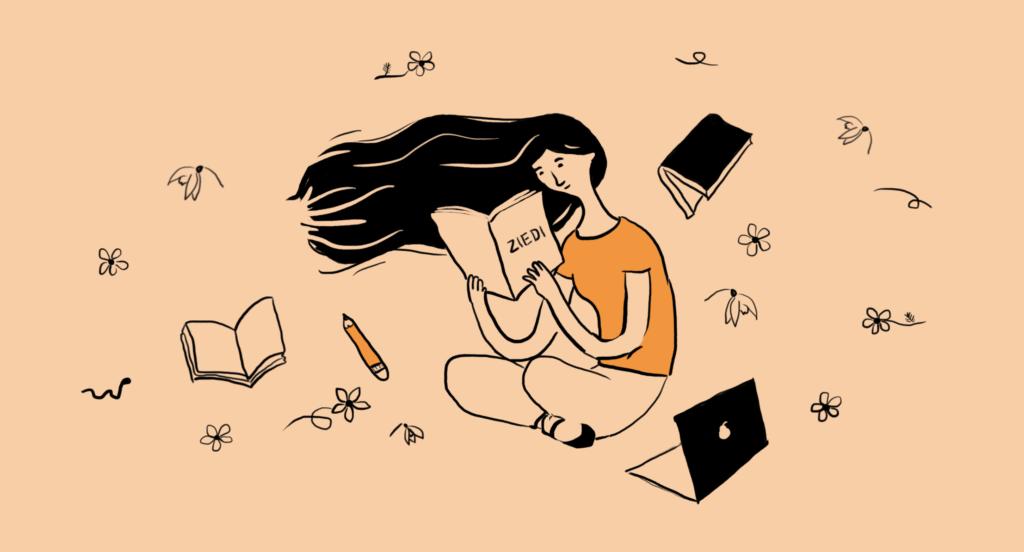 Meitene domīgi lasa grāmatu par ziediem. Viņai apkārt ir dadz pavasara ziedu, dators un citas grāmatas.