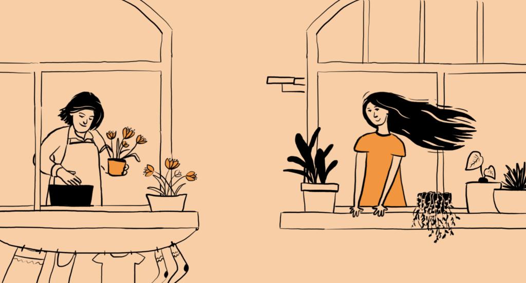 Jauna sieviete ieinteresēti skatās pa atvērtu logu uz kaimiņieni, kura stāda ziedus