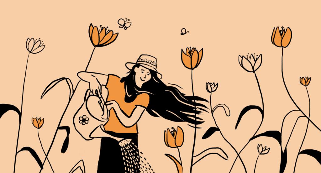 Sieviete apņēmīgi laista augus